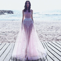 beach pictures bikini - 2017 Sexy Illusion Bikini Evening Dresses Sequins Flowers Tulle Floor Length Light Pink Beach Prom Dresses Said Mhamad Arabic Dresses