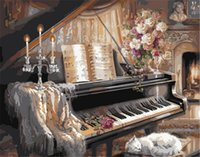 Wholesale Newest Frameless Pictures Painting By Numbers Digital Oil Painting On Canvas Unique Gifts Home Decoration x50cm Piano Music