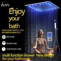 bathroom digital - Luxury Way Thermostatic Digital Shower Mixer Bathroom Accessories mm Ceiling Rain Mist Shower Head Set LED Faucet