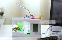 Wholesale Mini USB Desktop Electronic Aquarium Fish Tank With LED Light Calendar Clock Multi Functional Pen Container Decoration Gift