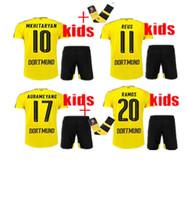 asymmetric shirt - top Thai Quality Borussia Dortmund kids Jersey Soccer shirt REUS HUMMELS Dortmund AUBAMEYANG kids kit Football Shirt Send socks