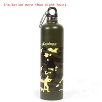 Wholesale Outdoor professional stainless steel double layer insulation kettle camouflage kettle bicycle riding sports water bottle ml