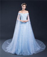 art amazing - Amazing Light Blue Women Formal Dresses Evening Wear Off Shoulder Appliques Beaded Off Shoulder Watteau Cheap Prom Gowns In Stock