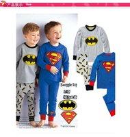 venda por atacado pyjama-2016 pijamas de algodão meninos miúdos dos desenhos animados superman batman mangas compridas desgaste casa terno pijama pijama MC0096