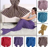 Wholesale ADULT Mermaid Blanket Sofa Blanket Super Soft Mermaid sleeping bag Hand Crocheted Blanket Air conditioning blanket cm LJJK447