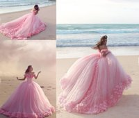 Wholesale 2016 Quinceanera Dresses Baby Pink Ball Gowns Off the Shoulder Corset Hot Selling Sweet Prom Dresses with Hand