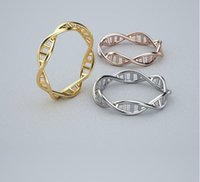 Wholesale Retail Gold Silver DNA Ring Chemistry Science Ring Molecule Rings Neurotransmitter Dopamine Infinity Pattern Finger Wrap Jewelry