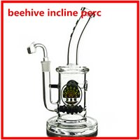 beehive glass - 5mm thick big heady glass bong oil rig Glass Bongs Beehive Inline Perc Water Pipes mm joint bent type heaxy bongs DGC1257