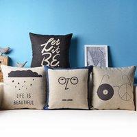 Wholesale Wholesale18 quot x45CM Decorative Linen Pillow Case John Lennon Printed Pillow Cover Sofa Cushion Cover