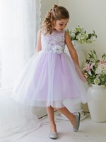 Wholesale 2017 New Arrival Flower Girls Dresses Lilac Elegant Floral lace Bodice with Tulle Skirt Girl Party Gowns Ball Gown With Handmade Flowers