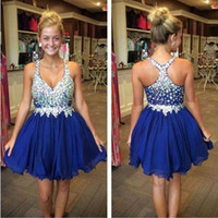 Wholesale In Stock Cheap Pretty Homecoming Dresses Sexy Deep V Neck Mini Chiffon Short Crystal Bodice Short Party Prom Dresses Cocktail Dresses CPS168