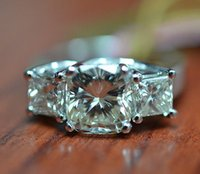 auction rings - Auction CT Cushion Princess Cut Stone Diamond Ring in K White Gold