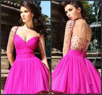 Wholesale Fuchsia Pink Half Sleeves Short Graduation Dresses Sexy Party Sweeteheart Neck Backless Sweet Girls Mini Gown Homecoming Dressed