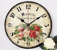 Wholesale New DIY digital wooden Wall Clock Removable Decal Set Simple silent Wall Clock Home Decoration