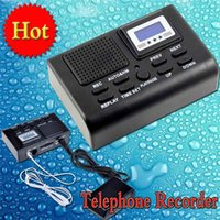 Wholesale Sd Card Voice Recording - LCD Display Mini Digital Voice Recorder Telephone Recorder Phone Call Monitor with SD Card Slot Autimatically Conversation Phone Call Record