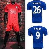 Wholesale New Leicester Football Jersey Leicester City VARDY MAHREZ Soccer Jerseys Thai Quailty Home Blue Away Red Football Shirts