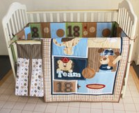 baby crib fitted sheets - 5 Pieces Set Baby Bedding Set Newborn Crib BlanketBaseball teddy bear Nursery Crib Bumper Quilt Fitted Sheet Dust Ruffle