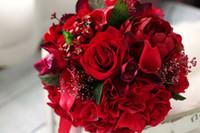 Wholesale Bridal Bouquets Red Rose Cymbidium Calla Lily Bridesmaids Brooch Bouquet Bride Holding Artificial Flowers Country Garden Wedding