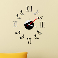 Wholesale Removable Wall Clock Sticker Set Roman Digits Music Notes DIY Mirror Effect Acrylic Glass Decal Home Decoration