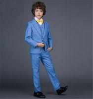 Wholesale Wool Blend One Button Boy s Tuxedos Notch Lapel Children Suit Damier Check Color Kid Ring Wedding Prom Suits Jacket Pants Vest