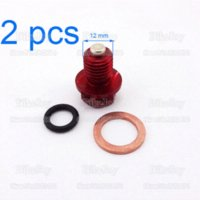 atv engine oil - 2pcs pack Magnetic Megneto Engine Oil Drain Plug Bolt Nut Screw Washer Red Pit Dirt Monkey Bike ATV Quad Buggy Kart Motorcycle