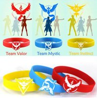 Wholesale Poke go Silicone Bracelets toys color Children Poke Ball Team Valor Mystic Instinct Pikachu Jeni turtle Bracelets