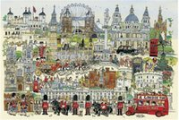 Wholesale London Town Jigsaw Paper Puzzle Pieces With Drawing Guideline and Glue
