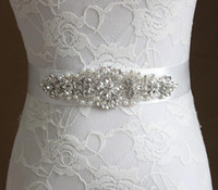 Wholesale Handmade Satin Crystal Beaded Wedding Dresses Sashes Bridal Belts Wedding Accessories Sashes For Wedding Gowns