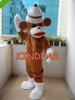 Wholesale New Brown Sock Monkey Mascot Costume Adult Halloween Fancy Dress Cartoon Party Suit