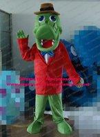 alligator shirt - Fashionable Green Crocodile Alligator Dino Dinosaur Mascot Costume Cartoon Character Mascotte Red Shirt Brown Hat ZZ237 Free Sh