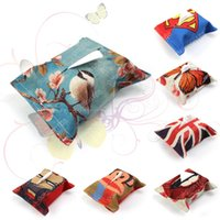 Wholesale 2016 Creative Linen Print Tissue Box Tissue Storage Tissue Holder Home Dining Room Car Napkin Paper Handkerchief Case Storage Designs