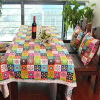 Wholesale 8 different sizes Bohemia printing table cloth cotton and lace table cloth geometric printed table decoration party supplies