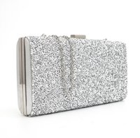 Wholesale Factory Selling Rhinestones Women Clutch Evening Bags Crystal Wedding Bridal Handbags Purse Black Gold Silver Colors With Chains Party Bag