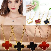 agate flower necklace - Han edition agate S925 pure silver A clover necklace Factory direct sale women fashion necklace Pendant Necklaces