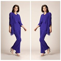 Wholesale Summer Long Pants For Woman - 2017 Simple Chiffon Plus Size Purple Mother Of The Bride Pant Suits Summer Formal Evening Party Gowns For Women