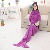 Wholesale DHL free cm women Super Soft Hand Crocheted cartoon Mermaid Tail Blanket Sofa Blanket air condition blanket