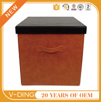Wholesale v ding from China professional supplier of high quality leather with a home Cube shape brown leather storage box