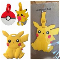 Wholesale 3 Styles Poke Ball Pikachu PVC Luggage Tag Label Travel Suitcase Tag Poke Luggage Identification Boarding Pass Checked Label