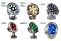Wholesale 6W W W W W W Red Green Blue IP68 CREE LED Underwater Aquarium Pool Fish Tank RGB Spot light lamp V AC DC