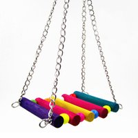 Wholesale 2016 New Top Quality Funny Colorful Wooden Rat Mouse Hamster Hanging Hammock Birds Cage Toys Hamster Parrot Swing Bird Perch Toys