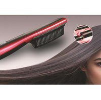 Wholesale New More Choice Plugs US EU AU and UK plug Hair Straightener Comb Electric LCD Auto Temperature Control Iron Brush Massager