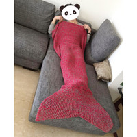 Wholesale Adult Handmade Mermaid Tail Blankets Crochet Mermaid Blankets Mermaid Tail Sleeping Bags Cocoon Mattress Knit Sofa Blankets
