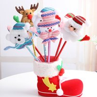 Wholesale luminous Ballpoint Pens Mini Cartoon Father Christmas Pens light up and without light up pen Snowman old man Colorful