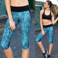 Wholesale lady Capri Pants Sport Yoga Pants High Waist Workout Leggings Bodybuilding Running Tights Women Sports Fitness Slim Leggings