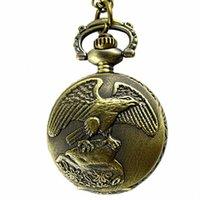 antique eagle - 10pcs Mixed Christmas Bronze Quartz Antique Vine Eagle Big Men Women Pocket Watches with Pendant Necklace Chain