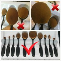Wholesale Cheap Professional Brushes - Not the cheap Brushes-Professional Soft Oval Brushes beauty Toothbrush Makeup Gold Brush Sets Foundation Brushes 10 Pcs  lot