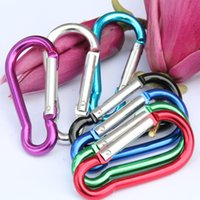 Wholesale 100Pcs Colorful Carabiner Durable Climbing Hook Aluminum Camping Outdoor sports Accessory size to choose