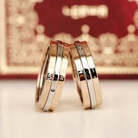 african calendar - The calendar date can rotate in three layers of titanium rose gold ring Korean anniversary couple ring of our time