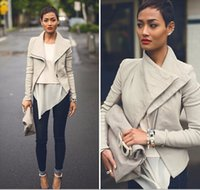 Wholesale Motorcycle Jackets Fashion Long Sleeve Leather Jacket Turn Down Collor PU Jackets Women Slim Coats Outerwear