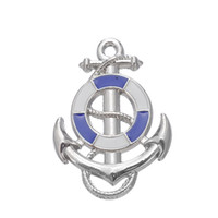anchor shape - My Shape White and Blue Anchor Fishhook Nautical Charm Zinc Alloy Rhodium Plated Charm For Necklace And Bracelet